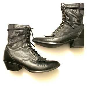 Ariat western lace-up mid-calf boots 90s vintage